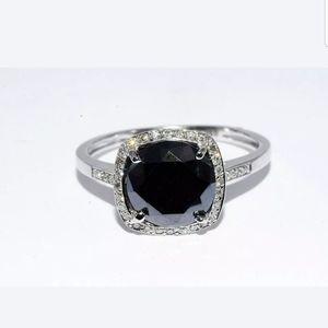new 2.25ct round cut black moissanite&diamond ring